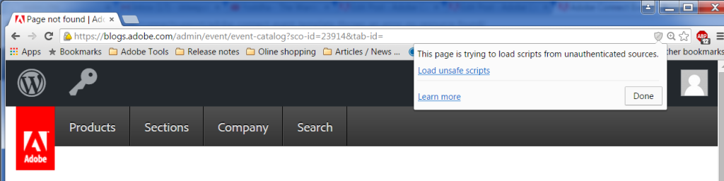 Enable Mixed content in Google Chrome